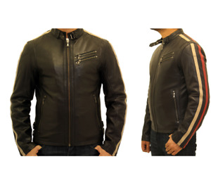 Mens leather biker jacket with racing stripes in red and cream.
