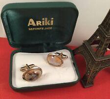 Retro Vintage Jewellery Gold and Jade Cufflinks Ariki Jewelry Cuff Links Box