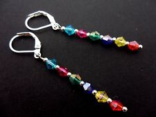 A PAIR RAINBOW CRYSTAL GLASS BEAD  SILVER  PLATED LEVERBACK HOOK EARRINGS. NEW