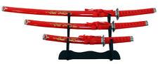 Katana Sword Set 3 Red Samurai Display Wakizashi Tanto