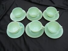 SIX JADITE FIRE KING JANE RAY CUP AND SAUCER SETS JADEITE IN VERY GOOD CONDITION