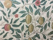 William Morris Curtain Fabric 'Fruit' 1m Ivory / Teal - 100% Cotton