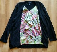 August Silk Cardigan Blouse Attached Top Large Women's Black Pink Green Used
