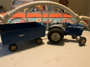 Vintage 70s Ertl Ford 8600 Tractor and Big Blue wagon