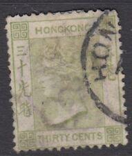 HONG KONG : 1891 CA Watermark 30c yellowish-green SG39 used(fiscal+postal)