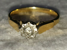 VINTAGE 18ct YELLOW GOLD AND DIAMOND RING - SIZE I - APPROX. 15 pts - 2.1 grams