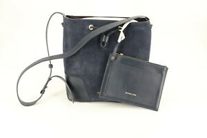 Michael Kors Cary Medium Bucket Bag Purse Admiral Navy Blue Suede Leather