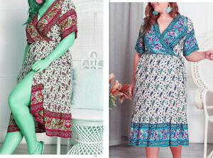 Ladies Cotton plus size  Wrap dress Formal Dresses size can fit 12 14 16 18 20