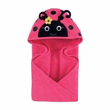 Hudson Baby Animal Face Hooded Towel for Baby Girls Pink Miss Ladybug