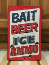 BAIT BEER ICE AMMO Metal Vintage Style Fishing Bait Lure Hunting Camouflage Bar