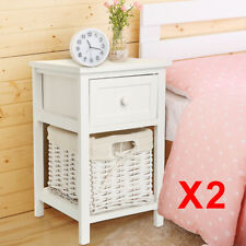 Pair of Shabby Chic White Bedside Tables Drawers with Wicker Storage Cabinet UK