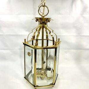 "Vtg Solid Brass Beveled Glass Chandelier Hanging Lamp Lantern Lighting 15""x7.5"""