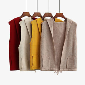 Women Hooded Vest Knitted Jacket Casual Loose Sleeveless Cardigan Coat Waistcoat