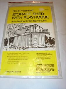 NATIONAL Do It Yourself Series STORAGE SHED With Playhouse Plans Design B2044