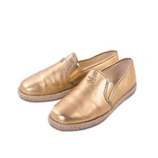 Chanel Gold Metallic Leather Espadrilles Loafers