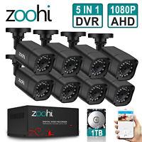 ZooHi 1080P CCTV Security Camera HDMI 4CH 8CH DVR Video Home Outdoor IP System