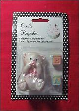 Candle Keepsakes PINK BEAR WITH BABY BLOCKS 3 pcs First Birthday Birthday NEW