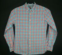 Bonobos Mens Slim Fit Check Button Front Shirt Long Sleeve Red White Blue Sz M