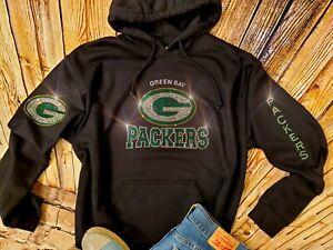 New Women's Green Bay Packers Hoodie Sweatshirt size M Rhinestones Bling Top