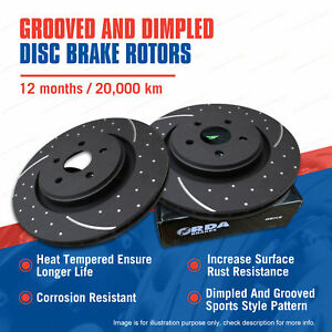 Front Slotted & Dimpled Disc Brake Rotors for Land Rover Discovery 2.0L 2.5L