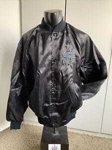 *VINTAGE*  Chevrolet black satin jacket size Mens large West Ark