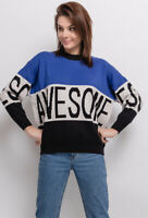 1980s Retro Gaming Y2K Blue Oversized Chunky AWESOME Jumper 10 12 14 16 18 20