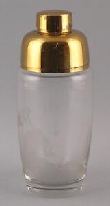 99835357 Glas Barshaker Kristall geschliffen Jagdmotiv goldfarbene Montierung