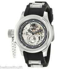 INVICTA RUSSIAN DIVER BLACK RUBBER+SILVER AUTOMATIC SKELETON LEFT HAN WATCH 1824
