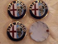 4 COPRIMOZZO RUOTE ALFA ROMEO 60mm ORIGINALI 159 giulietta  wheels centre caps