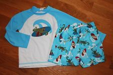 NWT Gymboree Swim Shop 2013 4T Blue Gecko Surfing Shirt Rashguard Shorts Swim