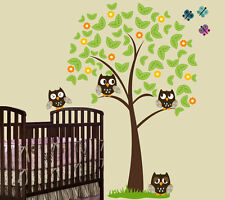 6 FT  BIG Tree with 4 OWLS, Butterflies and Grass Wall Decal Sticker Mural