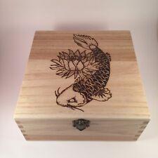 Jewellery Box  Keepsake box wooden Koi Carp personalised pyrography