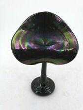 1990 Signed Stuart Abelman Art Glass Iridescent Jack in the Pulpit Vase