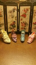 Lot of 4 mini Porcelain Collectible Shoes. Versale style.