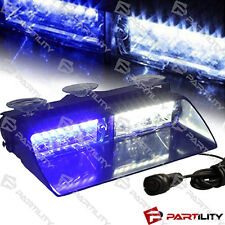 16 LED White Blue Light Emergency Car Vehicle Warning Strobe Flashing Dash