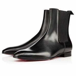 NEW-MEN HANDMADE BLACK BOOTS ANKLE HIGH SLIM CHELSEA GENUINE LEATHER BLACK SHOES