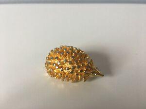 Gold Plated Hedgehog Brooch With Rhinestone Eyes