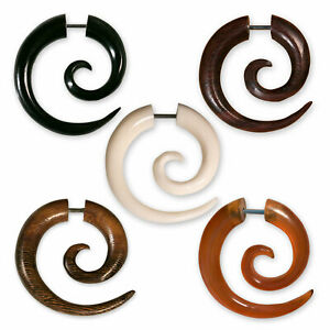 Fake Spiral Stretcher Horn Bone Piercing Earring Twist Handmade Piercing Jewelry