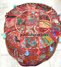 "22"" Indian Handmade Round Pouf Cover Vintage Cotton Ottoman Patchwork Dark Red"