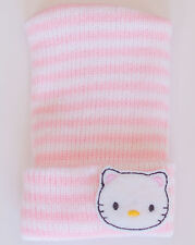 Pink & White Knit Newborn Hospital Hat w/ Hello Kitty - Photo Prop Baby Hat