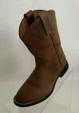 Justin Kids Leedy Western Boots Round Toe Brown Leather Pull On Size 13D