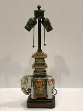 Asian Pottery Elephant with Pagoda Sculptural Double Socket Lamp
