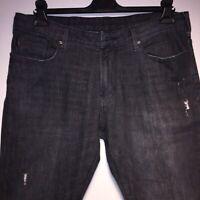 Armani Jeans Designer Ripped Slim Fit Black Jeans Size 32
