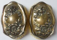 Vintage Set of 2 Art Nouveau Repousse C526 Sterling Silver Vanity Brushes 223G