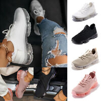 ❤️ Women's Lace Up Sports Trainers Sneakers Running Walking Knit Mesh Shoes Size