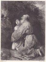 """W.Unger nach J.Livens """"Abraham und Isaak"""" Radierung um 1869"""