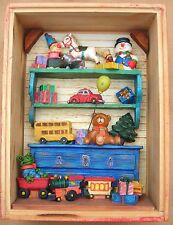 Russ Berrie Vintage Wood Box Filled with Children's Assorted Xmas Toys and More