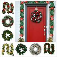 Pre-Lit Christmas Garland 9FT Wreath Illuminated with LED Lights Xmas Decoration