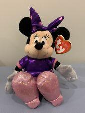 Nwt Ty Beanie Babies Collection Disney Sparkle 8� Minnie Mouse Plush Purple