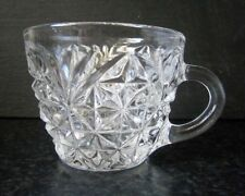 VINTAGE DEPRESSION GLASS TEA CUP or PUNCH CUP Palmettes & Stars, Starburst Base
